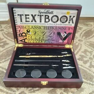 Speedball Art Hobby lettering set calligraphy 3 pens 5 tips in wooden case