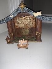 Thomas Kinkade nativity garland figurine manger baby Jesus holy night creche vtg