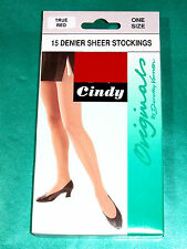 'True Red' 15 Denier Sheer Stockings - by Cindy - One Size