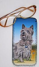 CAIRN TERRIER DOG NEOPRENE GLASS CASE POUCH  SANDRA COEN ARTIST WATERCOLOUR ART