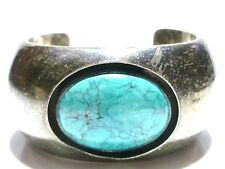 Floating Turquoise Navajo Cuff Bracelet Rare Willie Saiz Sterling Silver