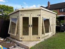 14' x 8' 19mm tanalised t&g shiplap CORNER summerhouse/shed combi, pent roof.