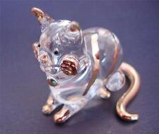 Glass CAT, KITTEN, Golden Stripy Sitting CAT, Glass Animal, Blown Glass Ornament