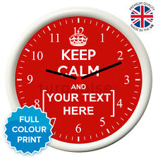 Personalised Keep Calm And Carry On Custom White Round Photo Wall Clock | 19cm