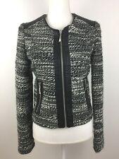 Black / White Tweed Fashion Fully lined Jacket , Size S