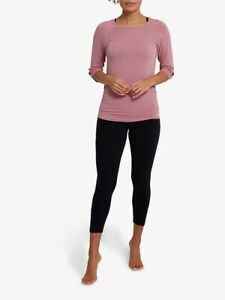 Jilla Active Savasana Bamboo 3/4 Sleeve Yoga Top, Blush/Orchid Size Medium