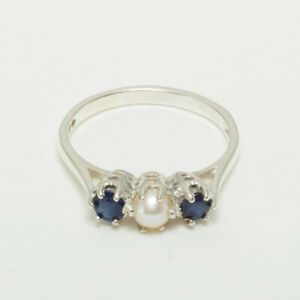 925 Sterling Silver Full Pearl Sapphire Womens Trilogy Ring - Sizes J to Z