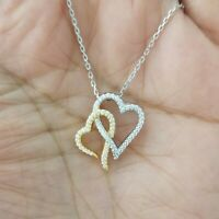14k Yellow Gold & Sterling Silver Diamond Double Heart Pendant Necklace