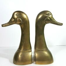 Brass Duck Head Book Ends 9 Inches Tall Large Vintage Heavy 3lbs each