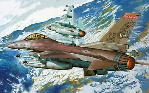 F-16 Fighting Falcon Army Plane Military Painting Poster / Canvas Picture Print