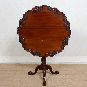 Antique Tripod Table Mahogany Tilt Snap Top Dining Lamp Table Circular