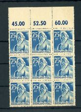 RHEINLAND-PFALZ Nr.13vw ** OBERRAND-9er-Block ME 117,-++ !! (134234)