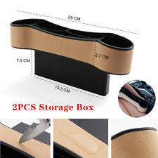 2X Car Seat Gap Storage Box Cup Holder Organizer PU Leather Big Large Capacity