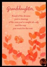 Birthday Butterfly Orange Leaves GLITTER Granddaughter Greeting Card W/ TRACKING