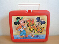 Vintage Mickey Mouse Red Graffiti Thermos School Lunchbox Lunch Box - Made In UK