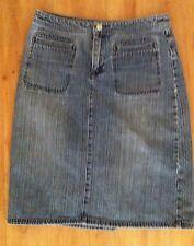 Ladies JAG Striped Blue Grey Denim Skirt Size 10