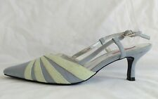 Jacques Vert Womens Ladies Grey Green Sling Backs Sandals Shoes Size 4/37 Used