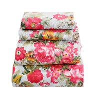 Beautiful Floral Sheet Set Soft Comfortable Pinkish Red & Yellow Floral