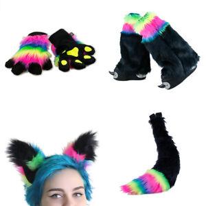 PAWSTAR Rainbow Fur Fox Yip Combo - Full Tail, Paw Mitts, Ears, Legs[Shadow]4904