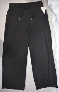 NWT $98 Athleta Sz S M LP & L Black Balance Wide Leg Plush Nirvana Pants #631950