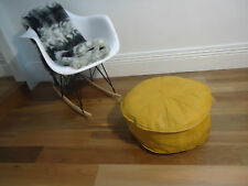 Beautiful Leather Ottoman for use as Coffee Table or Pouf or Pouffe - Mustard