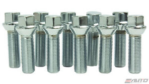 10x ICHIBA 45mm 12x1.5 M12 P1.5 EXTENDED LONG LUG BOLT TAPER SEAT SILVER BENZ VW