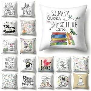 Coffee Book Letter Cushion Cover Polyester Waist Throw Pillow Sofa Home Decor
