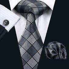 C-1017 Mens Grey Tie Silk Neckties Hanky Cufflinks Gift Set Width 8.5cm Classic