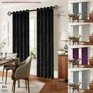 Ausumm Luxury Crushed Velvet Curtain Pair Ready Made Fully Lined Eyelet Ring Top