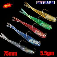 Soft Plastic Lures Rigged Fork Tailed Flathead Bream Jig Heads Fishing Tackle
