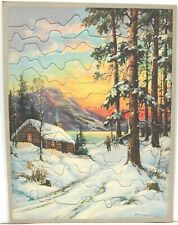 Unusual Jigsaw Puzzle 1930-40s – Winter Scene w/ Cabin, Snow, Colorful Sky