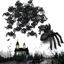 Party Decor 100X Haunted House Black Spider Halloween Plastic Trick Toy