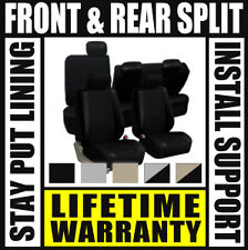 Solid Black Deluxe Perf Leather Full Car Seat Covers Set Split Fold  SUV D67