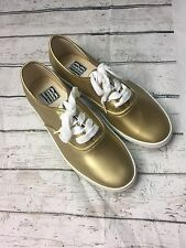 Retro Womens Sneakers Size 6.5M Festival Metallic Lace Up Shoes Mixed Blues Gold