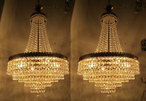 A Pair Antique Vnt Austrian & Real Swarovski Crystal Chandelier Lamp 1950s 16in