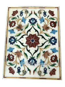 24 x 48 Inches Marble Coffee Table Top Inlay Multi Color Gemstones Sofa table