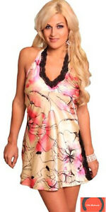 Lovely Day Lingerie CD1033, Pink Flower Pattern Chemise with Side Slit Size S
