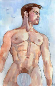 ORIGINAL LARGE MALE NUDE Watercolor -ROB- by GERMANIA