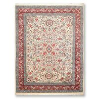 """9' x 12'6"""" 300 KPSI  Kum Hand Knotted Wool Traditional Oriental Area Rug Ivory"""