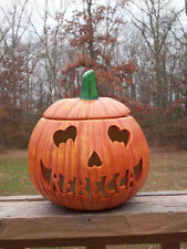 PERSONALIZED CERAMIC PUMPKIN JACK-O-LANTERN LAMP LIGHT w/ heart eyes