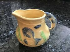 Vintage  Ceramic Pitcher Fish Handle & Fish Pattern  Hand Painted Made In Japan