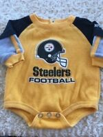 Pittsburgh Steelers Football Boys Black Yellow Long Sleeve One Piece 3-6 Months