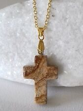 ladies S/M💖Hand Carved NATURAL Picture Jasper Cross on a 16 /18 inch GPLT chain