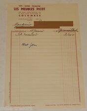 FACTURE de 1952 : Les MEUBLES PICOT - Tapis - Lustres - Décoration - COLOMBES