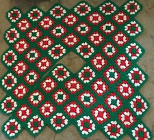 Handmade Crocheted Christmas Tree Skirt Red White Green 4 Ft 8 In Diameter