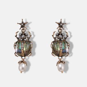 Beetle Bug Pearl Star Crystal Statement Gold Drop Earrings. Zara Style Jewellery