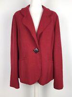 Marks & Spencer Boiled Wool Blend Jacket Blazer Size 18 Red Preppy Plus Size
