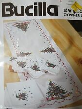 nos BUCILLA CHRISTMAS TREE TABLERUNNER stamped cross stitch kit #83101