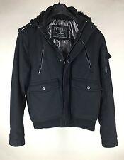 Guess Jacket Hooded Wool Blend Black Women's Size Large