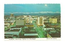 ANCHORAGE AK Vtg Aerial Moonlight Night Alaska Postcard Old Alaska PC